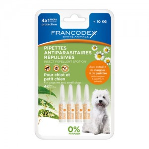 FRANCODEX Pipettes insectifuge chiot / petit chien
