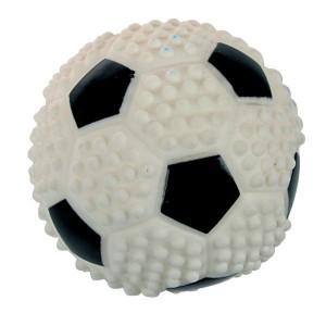 Jouet vinyle balle de foot pour chien