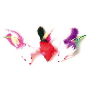 Jouet souris plumes (x3)